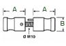 Juego de pomos fijos en acero inoxidable de 25mm. para herraje de cabina. - Acero Inoxidable - P33/43